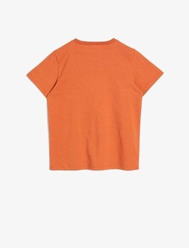 Koton Kids Baskili T-Shirt Kahve